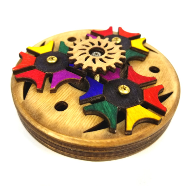 Handcrafted Desk Wooden Geared Fidget Spinner