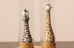 Ceramic Zebra & Giraffe Figure