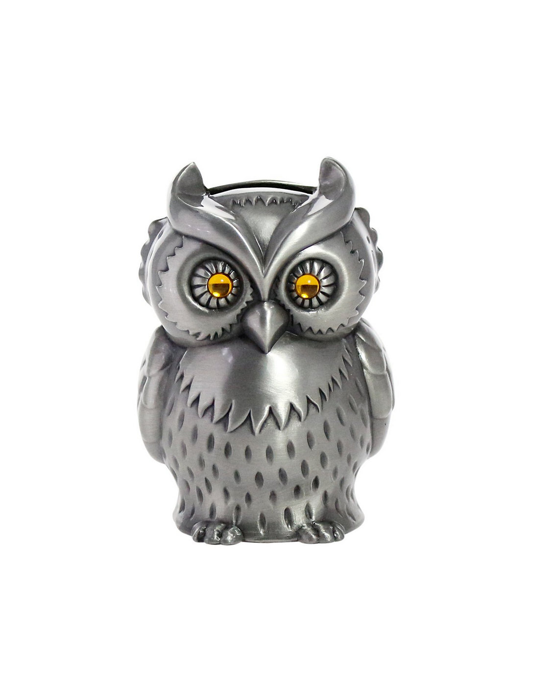 Vintage Engraved Metal Owl Bank
