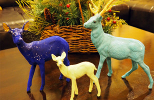 Holiday Decor Flocked Deer Family