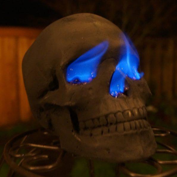 Human Skull Fire Pit Log