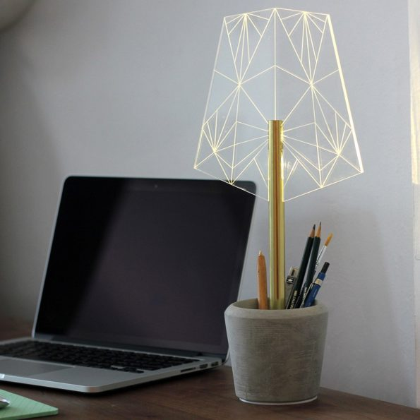 LED Lamp with Crystalline Shade