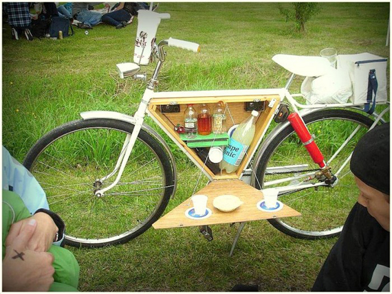 A Bar in the Bicycle for Outdoor Cocktails