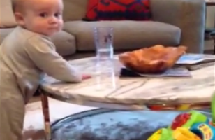 Cute Baby Expressions When Mom Says Not to Touch The Glass of Water