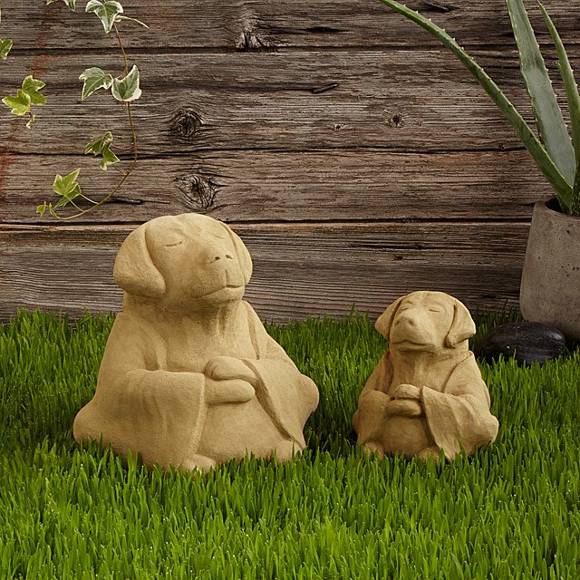 Meditative Cement Zen Dog Sculpture