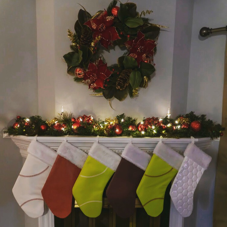 Christmas Stockings & Other Gifts made from actual sports ball materials
