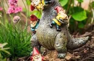 Godzilla Eating Gnomes Lawn Ornament