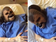 A Woman Wears A Chewbacca Mask While Giving Birth...