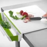 Cutting Board with Collapsible Scrap Bin
