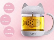 Fish Tea Infuser Strainer Filter in a Cat Glass Cup Tea Mug