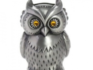 Vintage Engraved Metal Owl Bank
